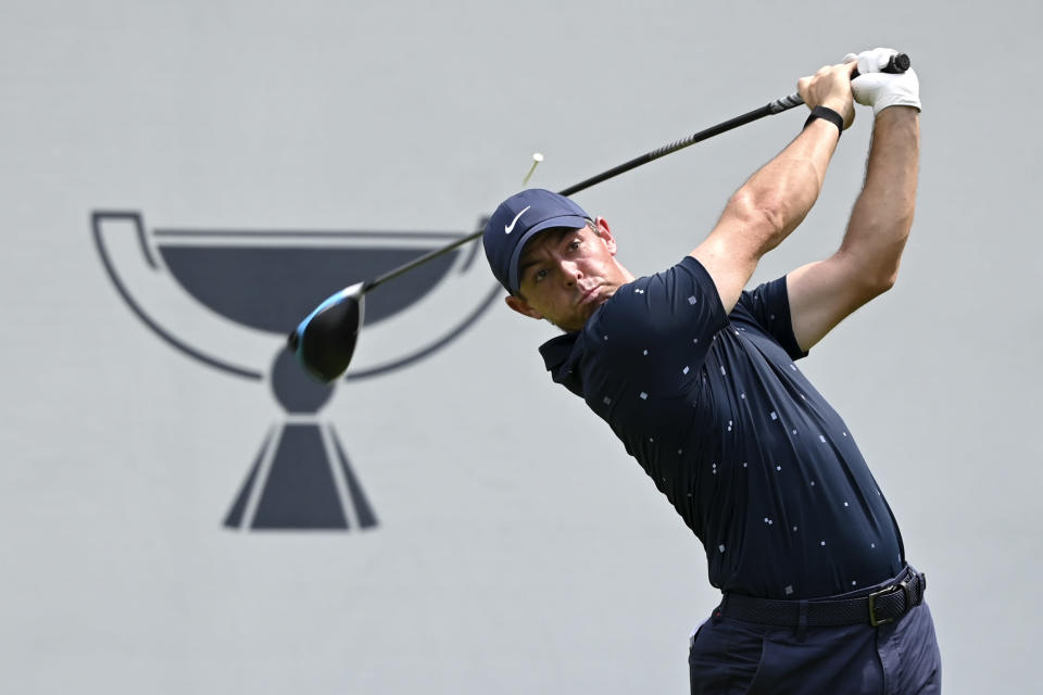 Rory McIlroy, of Northern Ireland, tees off from the eighth hole during the third round of the BMW Championship golf tournament, Saturday, Aug. 28, 2021, at Caves Valley Golf Club in Owings Mills, Md. (AP Photo/Terrance Williams)