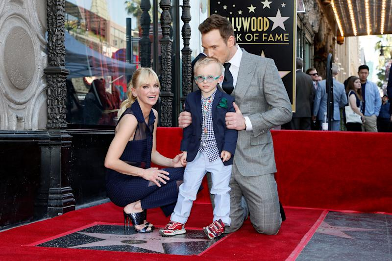 Chris Pratt, Anna Faris and their son at the actor's Hollywood Walk of Fame ceremony. (Danny Moloshok / Reuters)