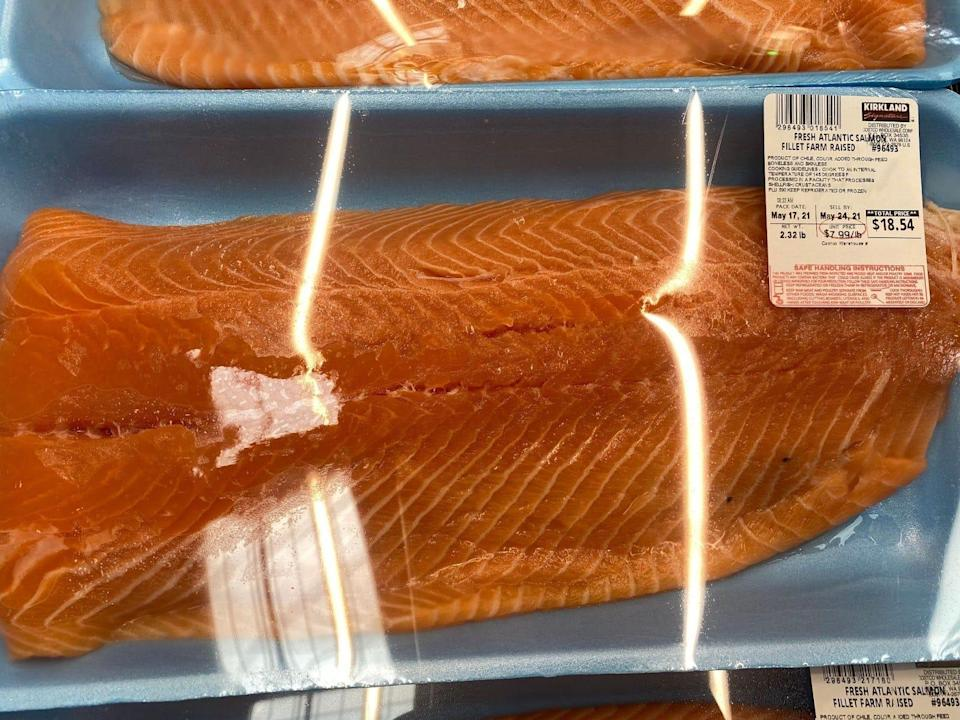 plastic-wrapped package of salmon at costco