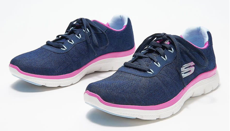 Skechers Fresh Move Washable Lace-Up Sneakers come in three colors including navy. (Photo: QVC)