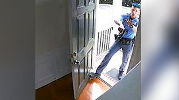 PHOTO: Security video shows a Raleigh, North Carolina, police officer entering Kazeem Oyeneyin's home after answering a calls to investigate a burglary alarm that went off on Aug. 17, 2019. (Kazeem Oyeneyin)