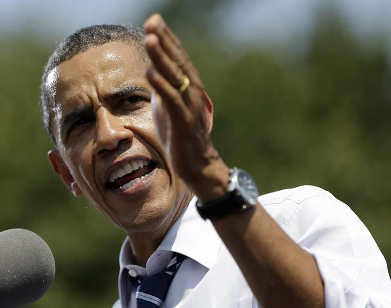 President Barack Obama speaks during a campaign event at Iowa State University, Tuesday, Aug. 28, 2012, in Ames, Iowa. (AP Photo/Pablo Martinez Monsivais)