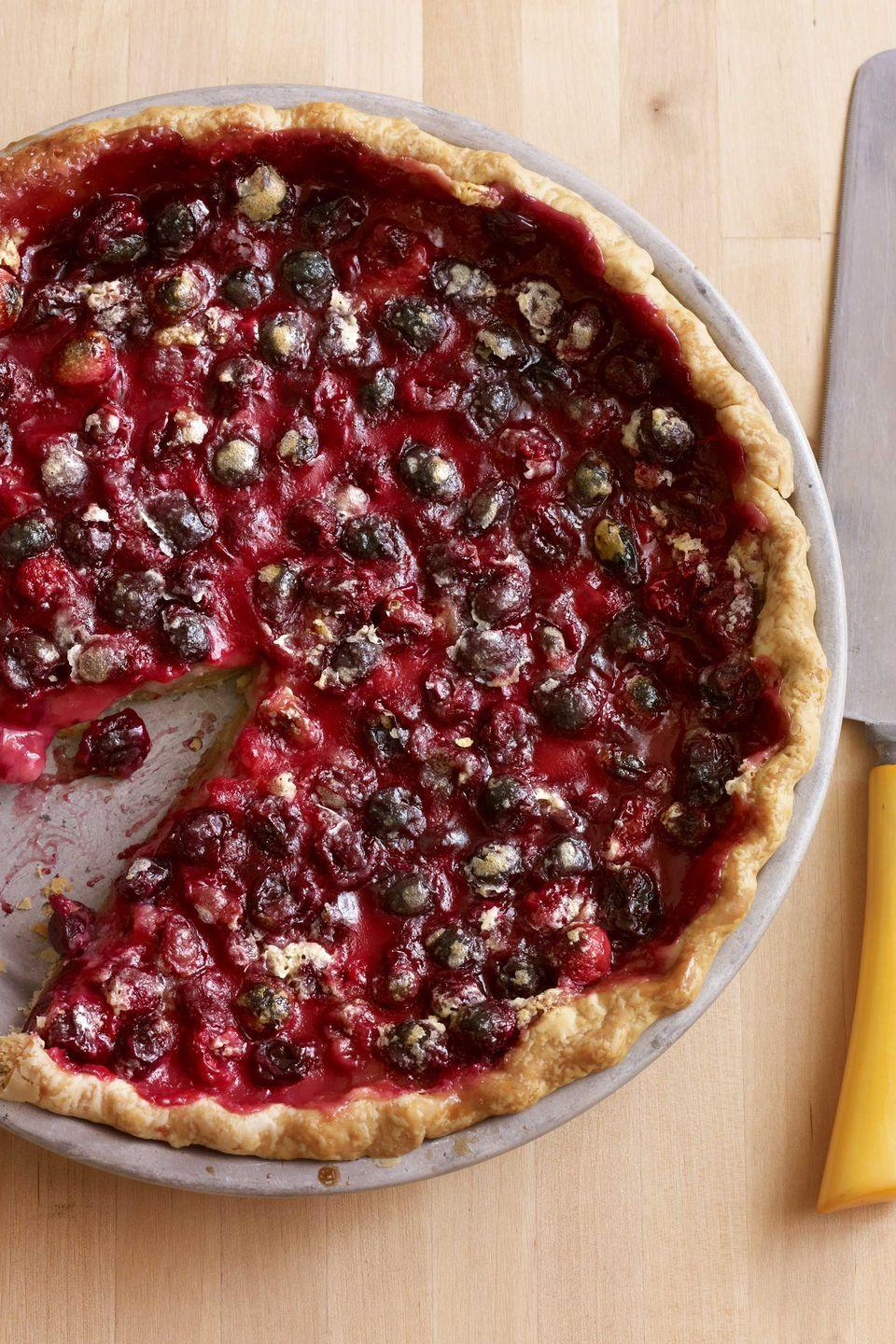 """<p>Six simple ingredients are all you need to create this holiday dessert.</p><p><strong><a href=""""https://www.countryliving.com/food-drinks/recipes/a3485/cranberry-pie-recipe-clv1110/"""" rel=""""nofollow noopener"""" target=""""_blank"""" data-ylk=""""slk:Get the recipe"""" class=""""link rapid-noclick-resp"""">Get the recipe</a>.</strong></p>"""