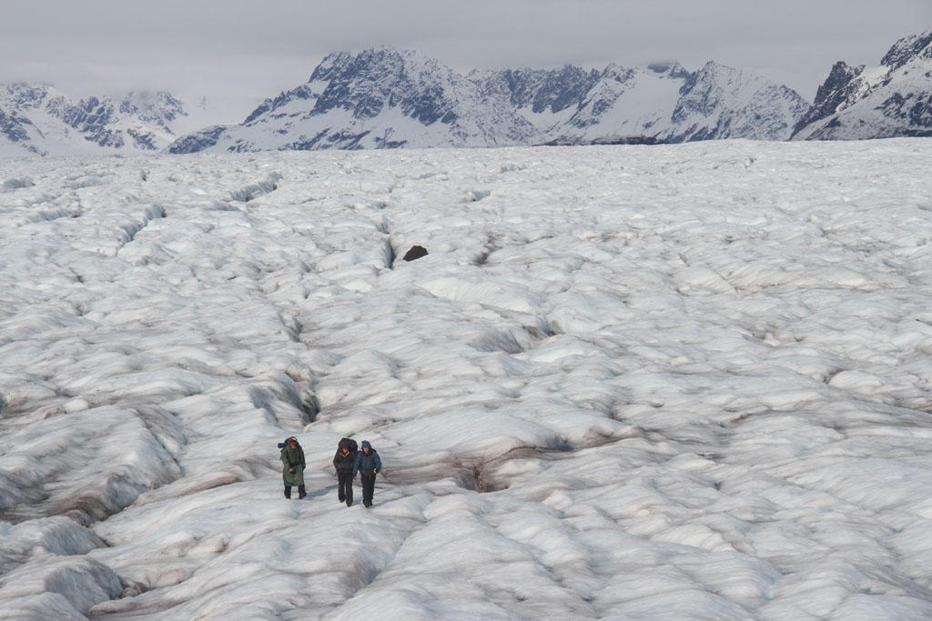 Triumvirate Glacier, Alaska: Willi Prittie, Tyrell Seavey and Dallas Seavey crossing the glacier.