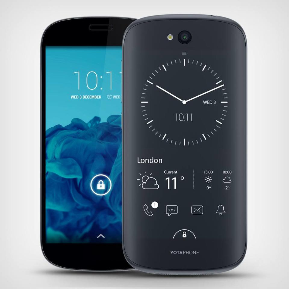 The Yotaphone 2 (using Android) retails for €599 in Europe.