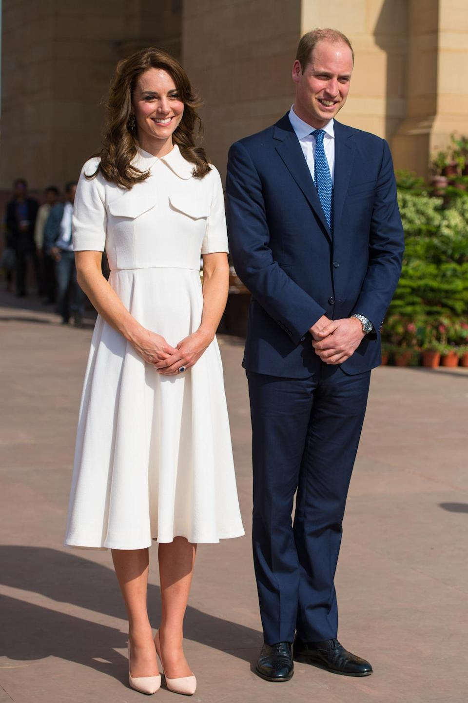 <p>While visiting a war memorial in India, Kate wore an elegant ensemble from Emilia Wickstead along with neutral Rupert Sanderson heels. </p><p><i>[Photo: PA]</i></p>