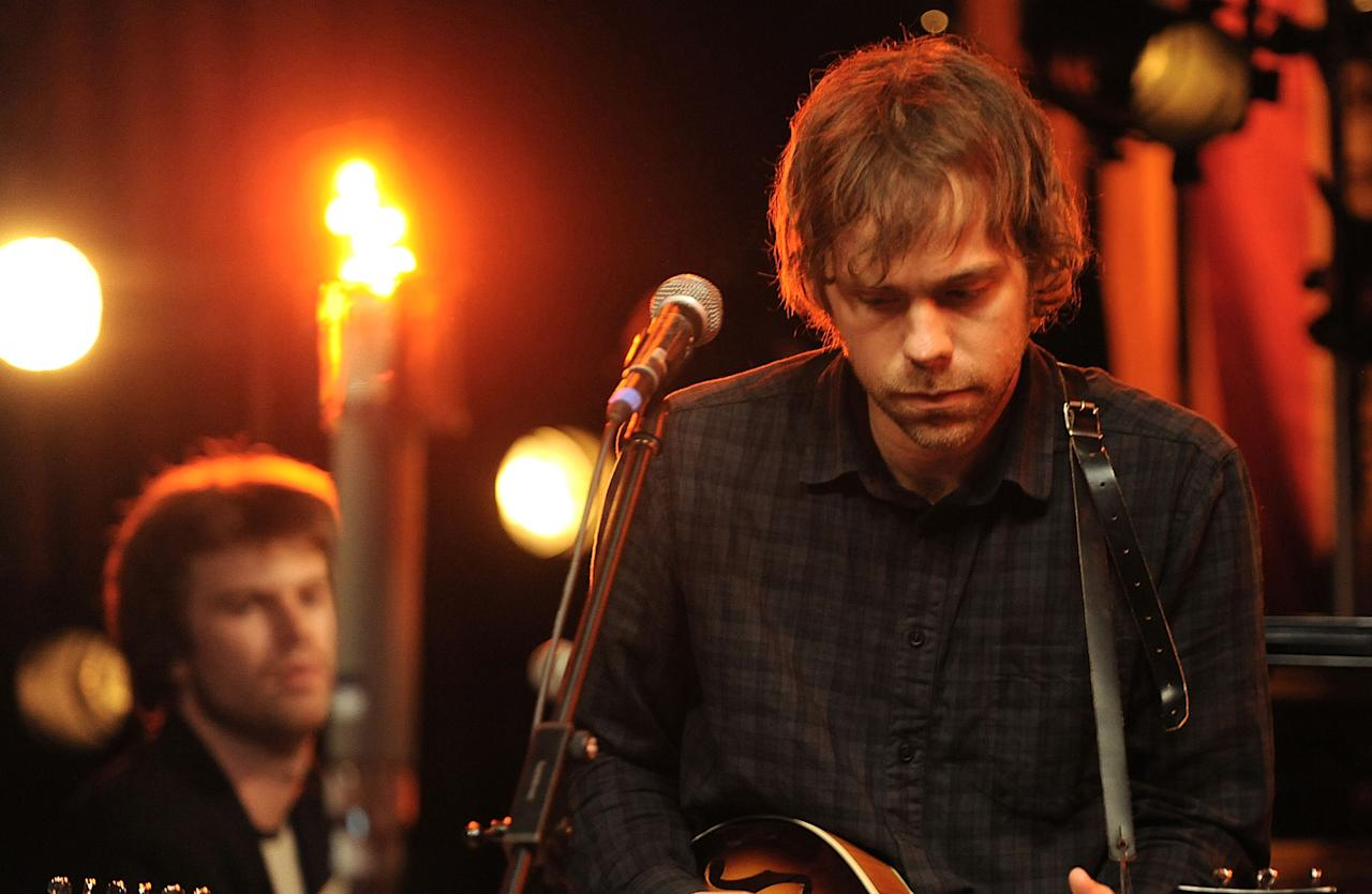 "Thomas Bartlett and Aaron Dessner of The National performs during the Yahoo! Music Presents ""The Bridge Session"" sponsored by Headcount at TRI Studios on March 24, 2012 in San Rafael, California."