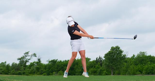 "<p><strong>Stare it down</strong></p> <p>Martin's swing is the definition of ""freeflowing,"" Triggs says. She finishes balanced on her left leg, looking as if she just made a practice swing. A great indicator of the quality of a swing is how much tension you feel as it ends. Martin is relaxed, no doubt looking at another fairway hit.</p>"