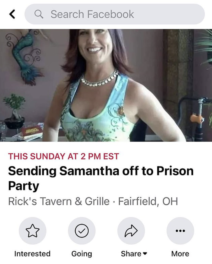 A Facebook event page titled 'Sending Samantha off to Prison Party' is pictured.