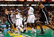 BOSTON, MA - NOVEMBER 28: Kevin Garnett #5, Jason Terry #4, and Rajon Rondo #9 of the Boston Celtics get into a fight with Kris Humphries #43 of the Brooklyn Nets during the game after Garnett was fouled on a play on November 28, 2012 at TD Garden in Boston, Massachusetts. Rajon Rondo and Kris Humphries would each be ejected from the game immediately following the fight.