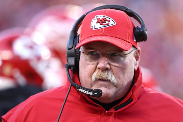 Kansas City Chiefs head coach Andy Reid and his staff are getting creative with video conferencing and basement setups. (Photo by Jamie Squire/Getty Images)