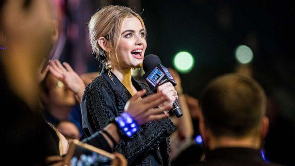 PHOTO: Lucy Hale speaks during the 2019 Allstate fan fest as part of the Dick Clark's New Year's Rockin' Eve with Ryan Seacrest 2019 in the Jax Brewery Parking Lot, Dec. 31, 2018, in New Orleans. (Josh Brasted/Getty Images)