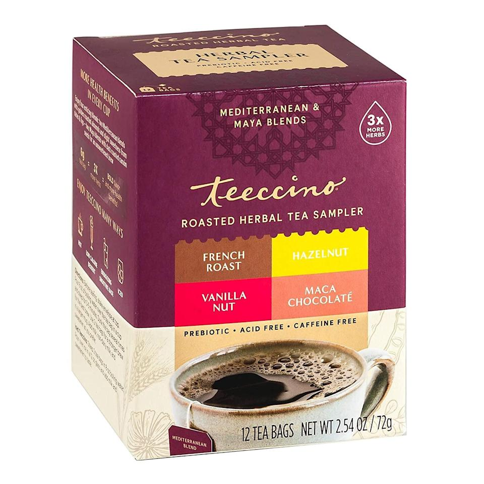 <p>I was happy to find out that Teeccino makes other decadent flavors. If you're used to drinking coffee, you might like this <span>Teeccino Herbal Tea Sampler</span> ($7) that includes Maca Chocolaté (just as delicious as the Dark Chocolate flavor!), French Roast, Hazelnut, Vanilla Nut (another one of my faves!). </p>