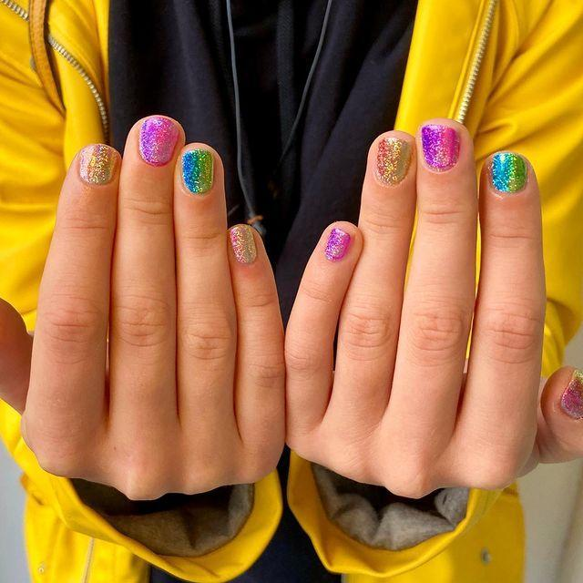 """<p>Follow the call of the disco ball with this manicure.</p><p><a href=""""https://www.instagram.com/p/CGDQg1bj7ZC/"""" rel=""""nofollow noopener"""" target=""""_blank"""" data-ylk=""""slk:See the original post on Instagram"""" class=""""link rapid-noclick-resp"""">See the original post on Instagram</a></p>"""