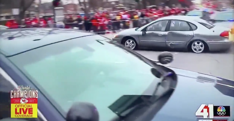 This happened hours before the Chiefs Super Bowl parade. (via KSHB)