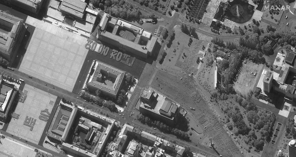 This Sept. 17, 2020, photo, provided by Maxar Technologies shows a parade rehearsal Kim Il Sung Square in Pyongyang, North Korea.(Satellite image ©2020 Maxar Technologies via AP)