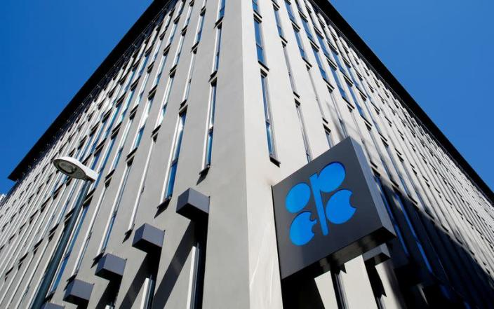 FILE PHOTO: The logo of the Organization of the Petroleum Exporting Countries (OPEC) sits outside its headquarters in Vienna