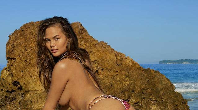 <p>Chrissy Teigen was photographed by James Macari in Sumba Island. Swimsuit by Amuse Society.</p>
