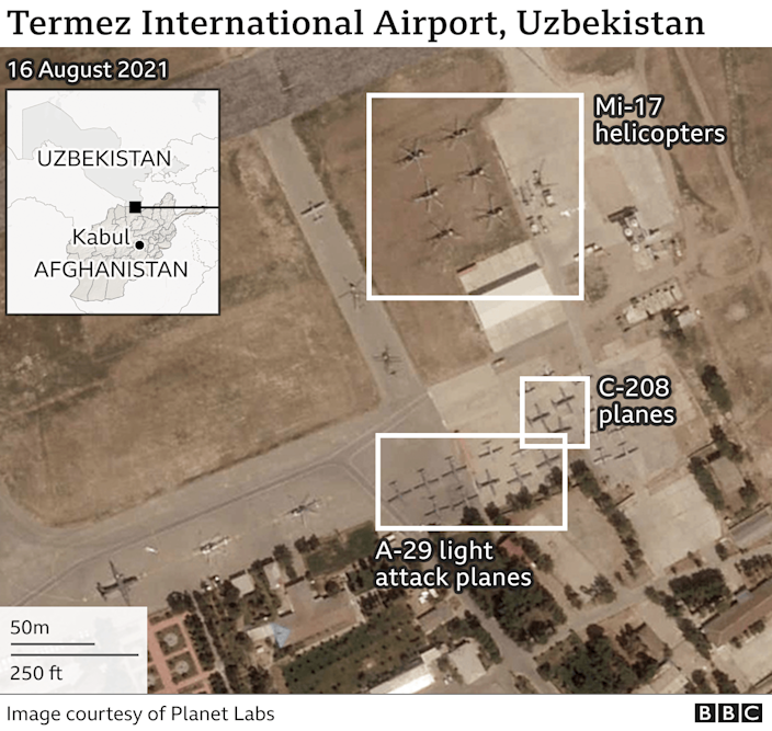 Satellite image of Termez International Airport with military aircraft on the ground.