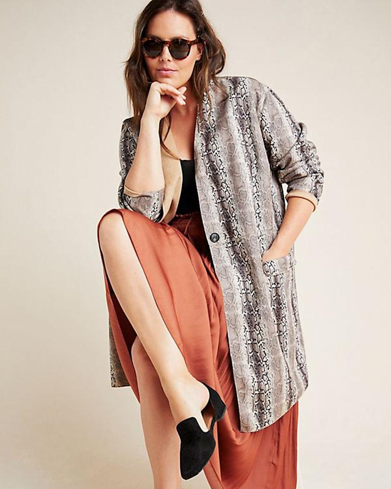 """$138, Anthropologie. <a href=""""https://www.anthropologie.com/shop/renegade-snake-printed-blazer?category=all-plus-size-clothing&color=029&type=PLUS&viewcode=c"""">Get it now!</a>"""