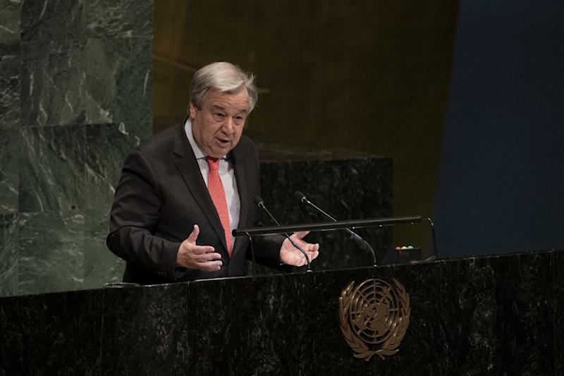 UN Secretary-General Antonio Guterres is set to begin two days of meetings in Washington, hoping to address a shortfall in the peacekeeping budget (AFP Photo/Evan SCHNEIDER)