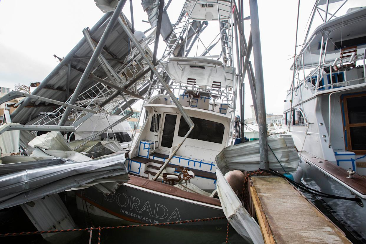 Fishing boats with severe damage at Club Nautico in the San Juan Bay.