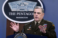 Joint Chiefs Chairman Gen. Mark Milley speaks at a press briefing at the Pentagon, Wednesday, July 21, 2021 in Washington. (AP Photo/Kevin Wolf)