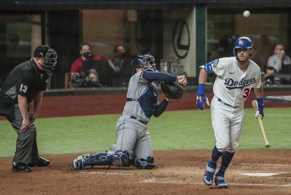 Dodgers center fielder Cody Bellinger draws a walk in the second inning of Game 2.