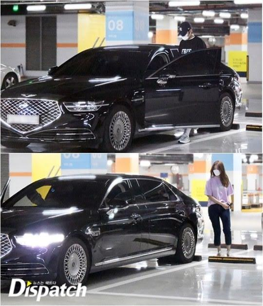 Lee Min Ho and Yeonwoo photographed by his car. (Photos: Dispatch)