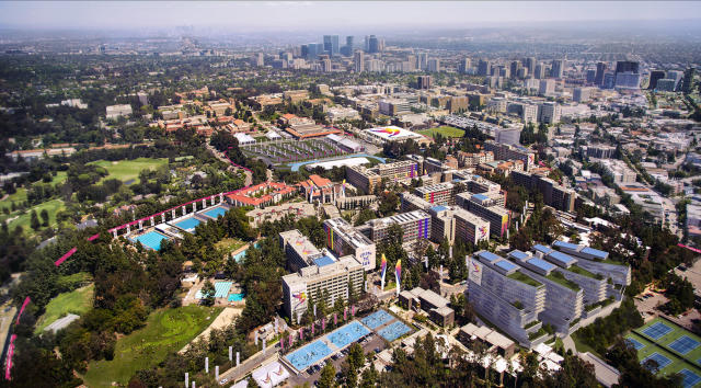 <p>Aerial view of the UCLA campus looking East with Downtown and Westwood in the distance. (Photo: Courtesy LA 2024) </p>