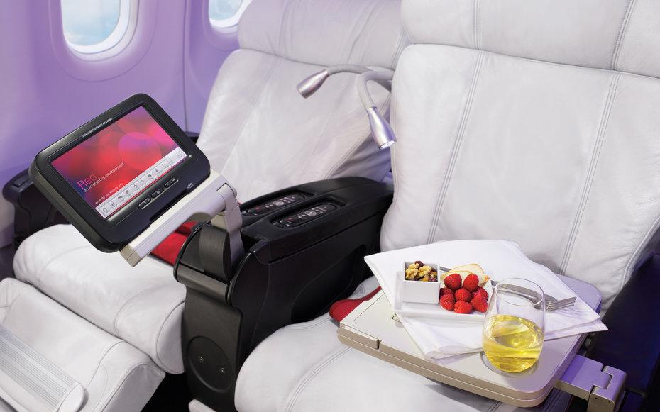 """<p>Readers applauded Virgin America for its unique approach to service: you can order your desired snacks and meals via the seat-back entertainment system. The San Francisco-based carrier was also celebrated for <a rel=""""nofollow"""" href=""""http://www.travelandleisure.com/slideshows/healthiest-unhealthiest-airline-food/12"""">having the healthiest food onboard a domestic flight</a>. The food on this airline should be a model to other domestic airlines, said one very satisfied <em>T+L </em>reader. Snacks are hyper local (San Frans own 479 Popcorn) and way more exciting than a bag of crushed pretzels.</p>"""
