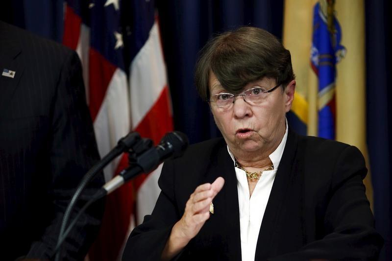 Securities and Exchange Commission Chair White speaks during a news conference in Newark, New Jersey