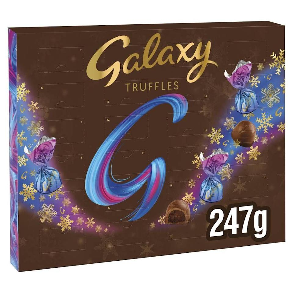"""<p>Galaxy truffles are getting in on the advent calendar hype this year, offering an individually wrapped chocolate behind each door. Yum<strong>.</strong></p><p><strong><a class=""""link rapid-noclick-resp"""" href=""""https://go.redirectingat.com?id=127X1599956&url=https%3A%2F%2Fwww.ocado.com%2Fproducts%2Fgalaxy-truffles-chocolate-christmas-advent-calendar-531011011&sref=https%3A%2F%2Fwww.cosmopolitan.com%2Fuk%2Fworklife%2Fg4194%2Fbest-chocolate-advent-calendars%2F"""" rel=""""nofollow noopener"""" target=""""_blank"""" data-ylk=""""slk:SHOP NOW"""">SHOP NOW</a> £9.99, Amazon</strong></p>"""