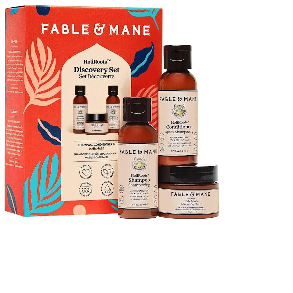 <p>Get the <span>Fable &amp; Mane HoliRoots Discovery Set</span> ($20) to see if this line is perfect for your hair type.</p>
