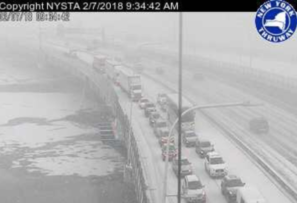 Multi-vehicle crash in New York on icy bridge, 2/7/2018