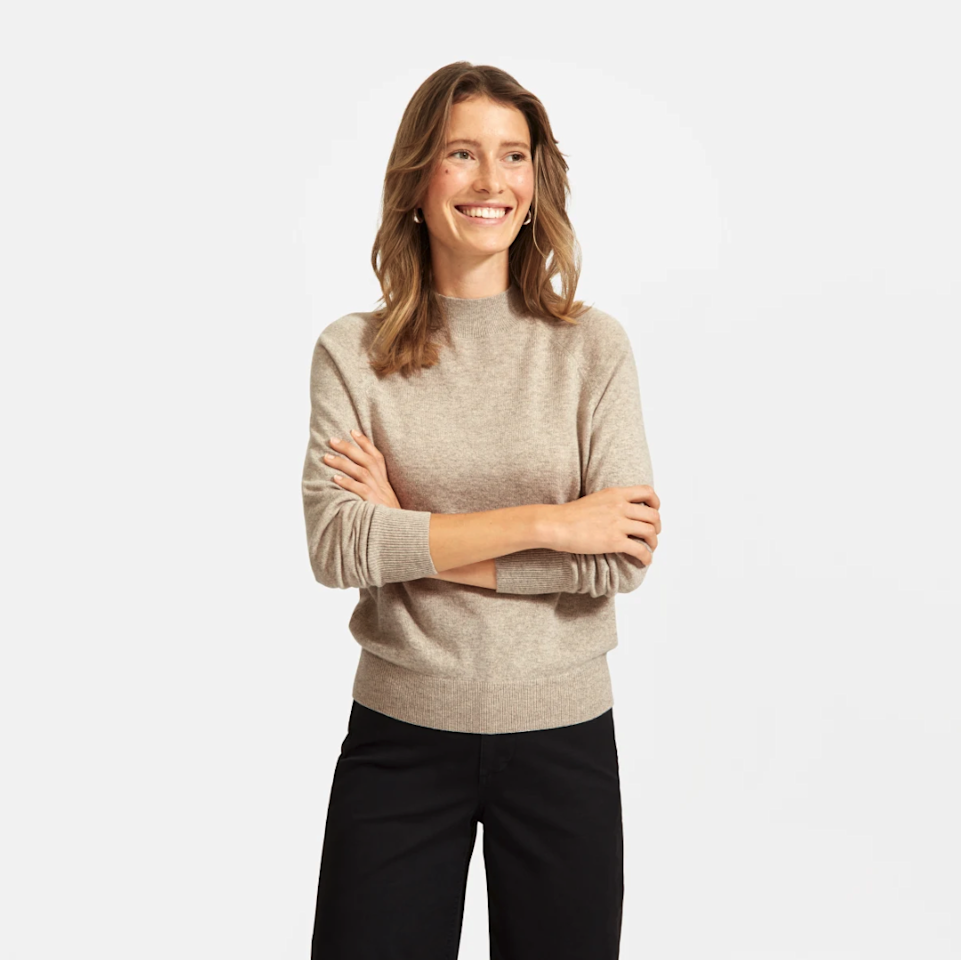 """$120, Everlane. <a href=""""https://www.everlane.com/products/womens-cashmere-mockneck-sweater-oatmeal?collection=womens-100-dollar-cashmere"""">Get it now!</a>"""