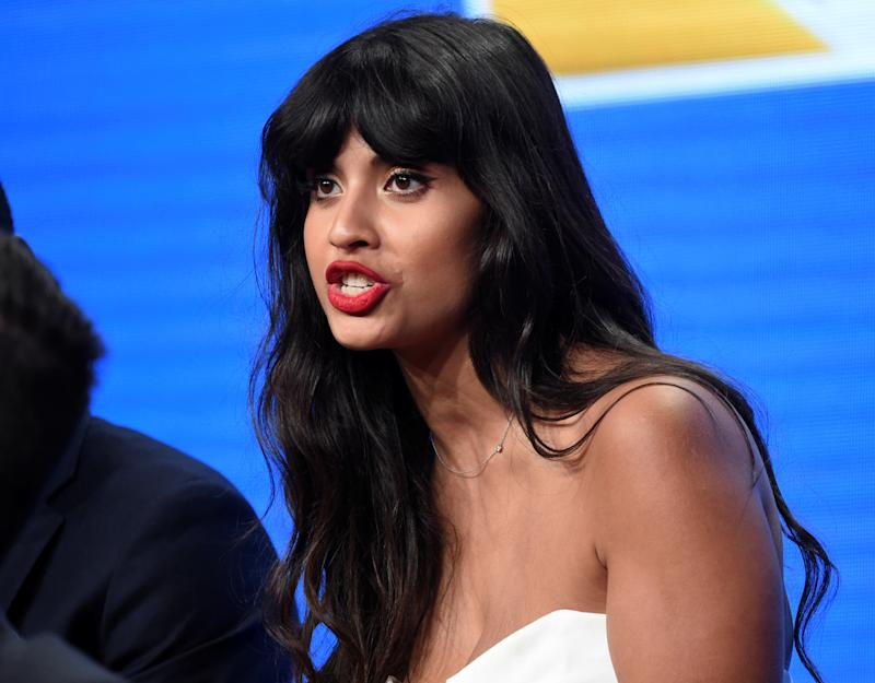 """Cast member Jameela Jamil answers questions during the panel for """"The Good Place"""" at the NBC Universal Television Critics Association press tour in Beverly Hills, California, U.S. August 2, 2016. REUTERS/Phil McCarten"""