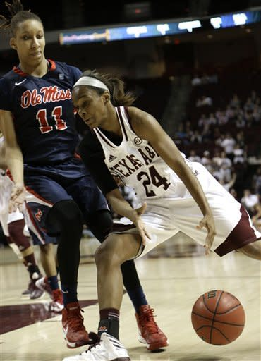 Under pressure from Mississippi's Kenyotta Jenkins (11), Texas A&M's Jordan Jones (24) loses control of the ball during the first half of an NCAA college basketball game Thursday, Feb. 21, 2013, in College Station, Texas. (AP Photo/Pat Sullivan)