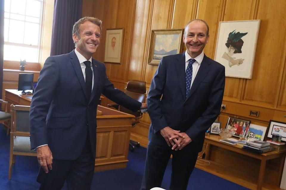 Taoiseach Micheal Martin during a meeting with French President Emmanuel Macron at Government Buildings in Dublin (Brian Lawless/PA) (PA Wire)