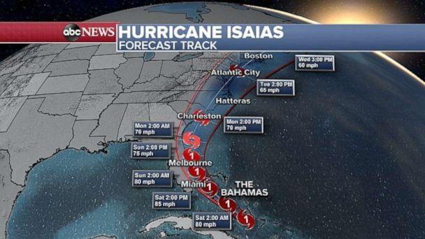 PHOTO: Isaias' track shifted slightly west on Friday, closer to Florida. (ABC News)