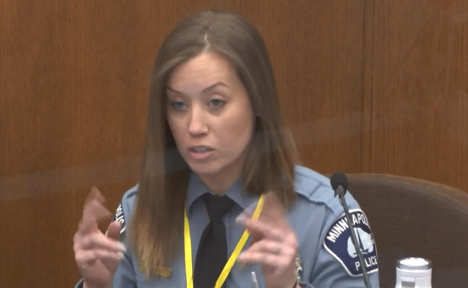 In this image from video, Minneapolis Police Officer Nicole Mackenzie testifies as Hennepin County Judge Peter Cahill presides, Tuesday, April 13, 2021, in the trial of former Minneapolis police Officer Derek Chauvin at the Hennepin County Courthouse in Minneapolis, Minn. Chauvin is charged in the May 25, 2020 death of George Floyd. (Court TV via AP, Pool)