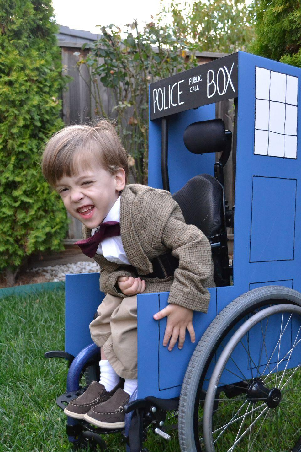 """<p>This Dr. Who costume comes with its very own TARDIS. The Doctor would approve.</p><p><em><a href=""""http://www.reesedixon.com/2011/10/doctor-who-family-halloween-costume.html"""" rel=""""nofollow noopener"""" target=""""_blank"""" data-ylk=""""slk:See more at Reese Dixon »"""" class=""""link rapid-noclick-resp"""">See more at Reese Dixon »</a></em></p>"""