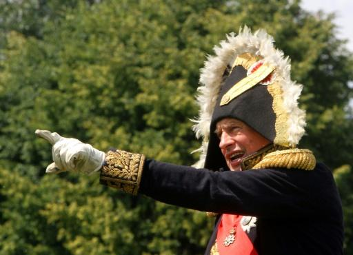 Sokolov is shown playing Napoleon in a historical reenactment of his 1812 Russian campaign