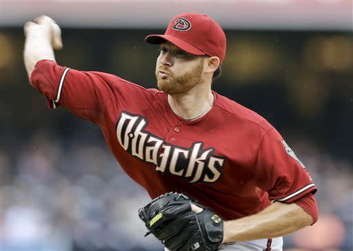 Arizona Diamondbacks starting pitcher Ian Kennedy works against the San Diego Padres during the first inning of a baseball game in San Diego, Sunday, May 5, 2013. (AP photo/Lenny Ignelzi)