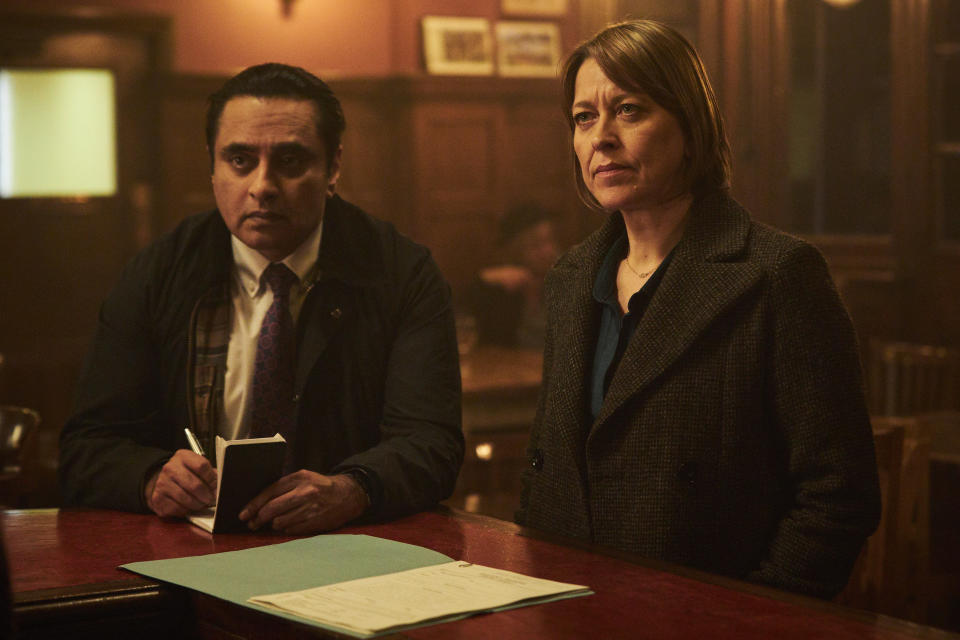 Nicola Walker as DCI Cassie Stuart and Sanjeev Bhaskar as DI Sunny Khan in Unforgotten. (Mainstreet Pictures/ITV)