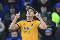 Wolverhampton Wanderers' Leander Dendoncker celebrates scoring his side's third goal during the English Premier League soccer match between Everton and Wolverhampton Wanderers at Goodison Park, in Liverpool, England, Saturday, Feb. 2, 2019. (Peter Byrne/PA via AP)