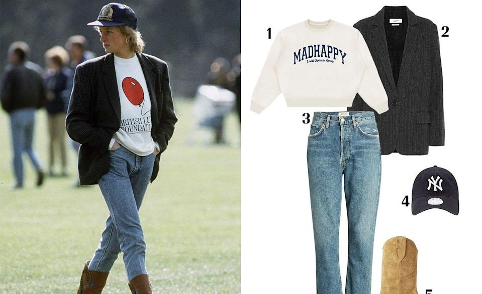 """<p>The off-duty look we all know and love would be nothing without Princess Diana's influence. That blazer and biker short combo Insta girls can't get enough of? Yeah, that started with Princess Di. The princess was a pioneer in athleisure and off-duty dressing, and this look in particular is just as relevant over 20 years later.</p><p><strong> 1. </strong><em><a href=""""https://www.madhappy.com/collections/crewneck/products/campus-heritage-crewneck-off-white"""" rel=""""nofollow noopener"""" target=""""_blank"""" data-ylk=""""slk:Madhappy sweatshirt"""" class=""""link rapid-noclick-resp"""">Madhappy sweatshirt</a>, $165; </em><strong>2. </strong><em><a href=""""https://www.mytheresa.com/en-us/isabel-marant-etoile-charly-herringbone-wool-jacket-1239151.html"""" rel=""""nofollow noopener"""" target=""""_blank"""" data-ylk=""""slk:Isabel Marant Étoile blazer"""" class=""""link rapid-noclick-resp"""">Isabel Marant Étoile blazer</a>, $501; </em><strong>3. </strong><em><a href=""""https://shop.nordstrom.com/s/agolde-riley-high-waist-crop-straight-leg-jeans-frequency/5494928?country=US¤cy=USD&mrkgadid=3356815460&mrkgcl=760&mrkgen=gpla&mrkgbflag=0&mrkgcat=&utm_content=33817189855&utm_term=aud-327479598175:pla-819472650922&utm_channel=low_nd_shopping_standard&sp_source=google&sp_campaign=662927188&adpos=&creative=145518898258&device=c&matchtype=&network=g&acctid=21700000001689570&dskeywordid=92700049880581797&lid=92700049880581797&ds_s_kwgid=58700005470160253&ds_s_inventory_feed_id=97700000007631122&dsproductgroupid=819472650922&product_id=27570652&merchid=1243147&prodctry=US&prodlang=en&channel=online&storeid=&locationid=9004545&targetid=aud-327479598175:pla-819472650922&campaignid=662927188&adgroupid=33817189855&gclid=CjwKCAjwxev3BRBBEiwAiB_PWJBLbYU6efpE4zfLinw2RS1bPEg9aV7yLhvgcC3GSLGmD4B1TpMt8BoCSNgQAvD_BwE&gclsrc=aw.ds"""" rel=""""nofollow noopener"""" target=""""_blank"""" data-ylk=""""slk:AGOLDE jeans"""" class=""""link rapid-noclick-resp"""">AGOLDE jeans</a>, $178; </em><strong>4. </strong><em><a href=""""https://www.mlbshop.com/Womens_New_Era_Navy_New_York"""