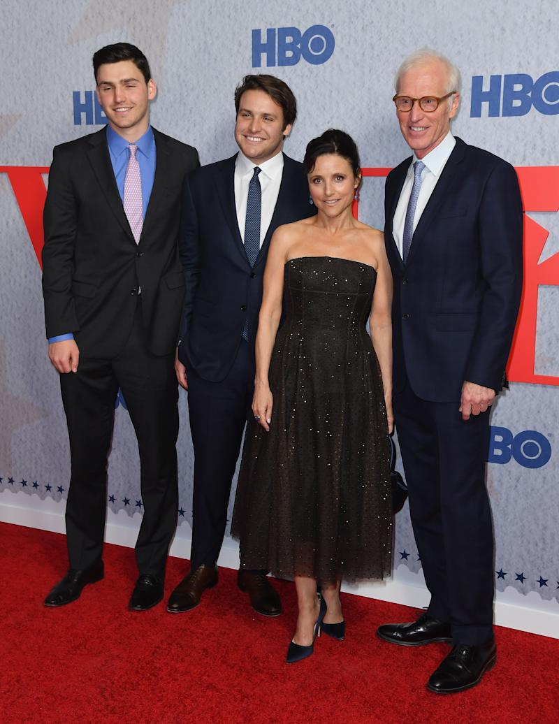 """Henry Hall, Charlie Hall, Julia Louis-Dreyfus and Brad Hall attend the premiere of the seventh and final season of HBO's """"Veep"""" on March 26. (Photo: Angela Weiss / AFP) (Photo credit should read ANGELA WEISS/AFP/Getty Images)"""