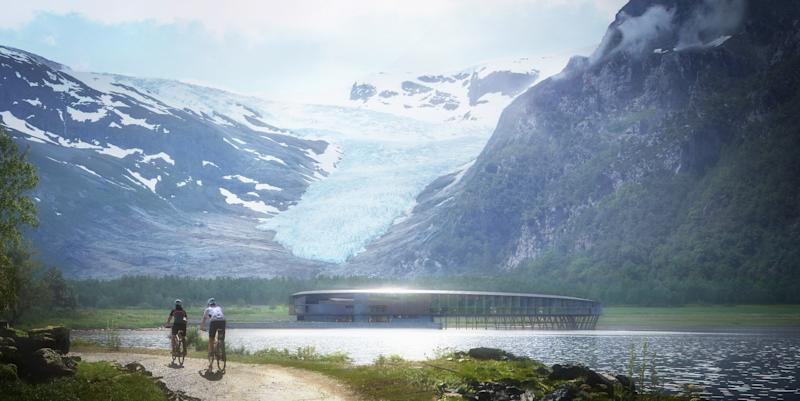 A rendering of Svart, the world's first energy-positive hotel, designed by Norwegian firm Snøhetta.