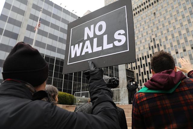 <p>Hundreds of immigration activists, clergy members and others participate in a protest against President Donald Trump's immigration policies in front of the Federal Building on Jan. 11, 2018 in New York City. (Photo: Spencer Platt/Getty Images) </p>